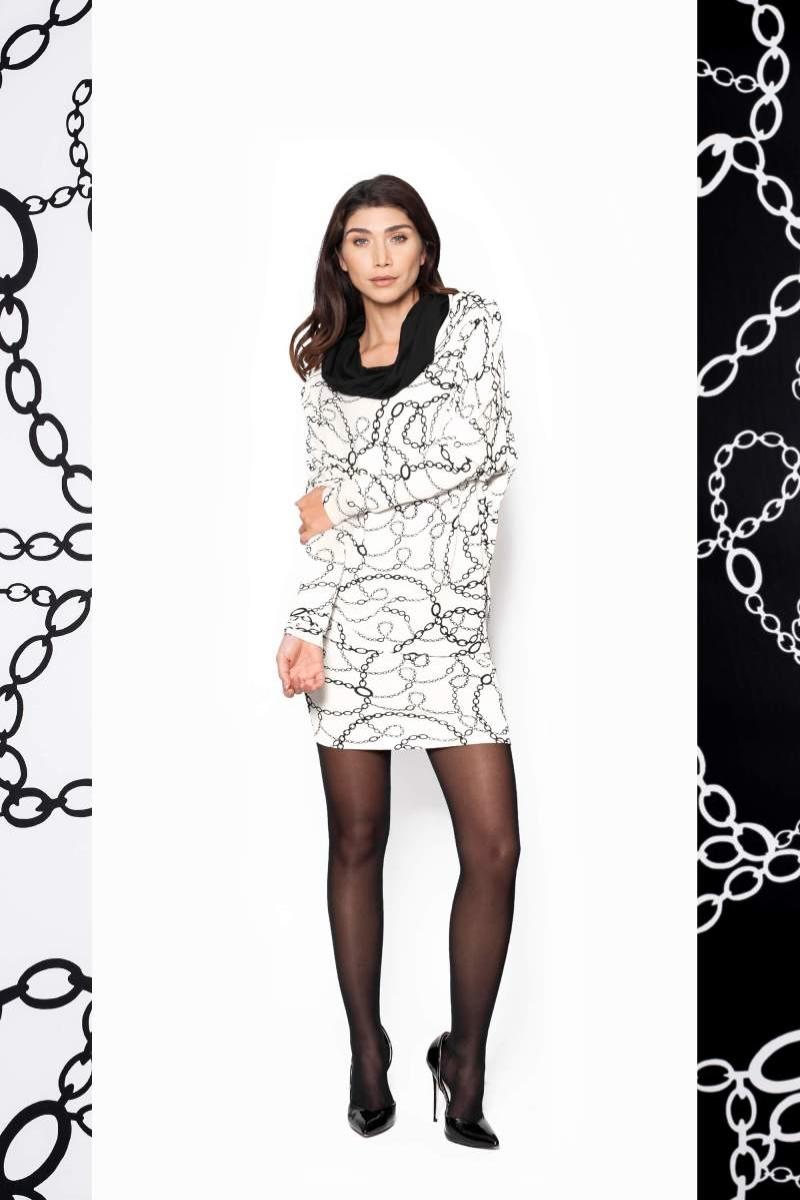De Dress Coll in Chain Print is een jurk welke je op 4 verschillende manieren kunt dragen.  Als jurk, lange mouw en coll. Als jurk, strapless en lang. Als jurk, strapless, lang en geknoopt. Als rok lang met stevige band in de taille.  Materiaal: 95% viscose, 5% elastaan
